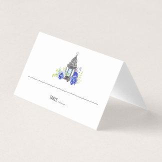Cartão De Mesa Casamento floral azul da lanterna