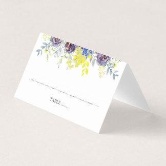 Cartão De Mesa Casamento floral azul e amarelo da lanterna