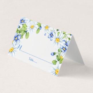 Cartão De Mesa Casamento floral da margarida branca azul do país