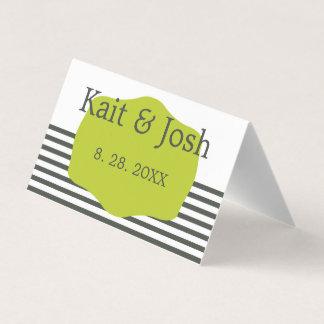 Cartão De Mesa Casamento minimalista elegante do verde morno do