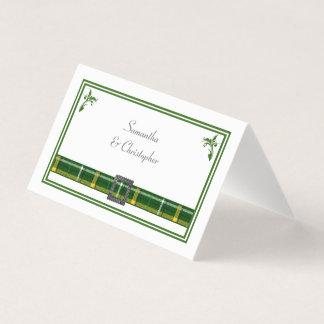 Cartão De Mesa Casamento verde da xadrez de tartan