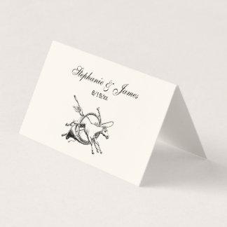 Cartão De Mesa Cavalo equestre formal que salta com a caça do