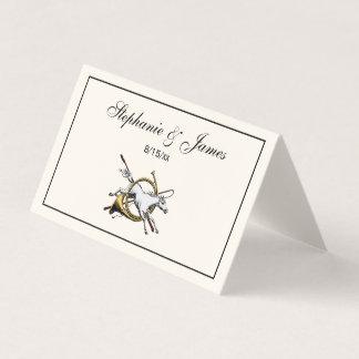 Cartão De Mesa Cavalo equestre formal que salta com a cor do