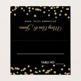 Cartão De Mesa Confetes Blac do brilho do falso do ouro de