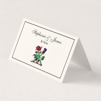 Cartão De Mesa Cor heráldica cor-de-rosa & do cardo da brasão da