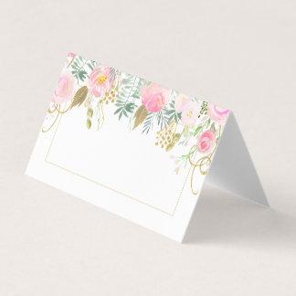 Cartão De Mesa Cora o lugar dobrado do verde do ouro dos rosas as
