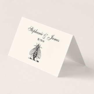 Cartão De Mesa Emblema heráldico formal da brasão da abelha do