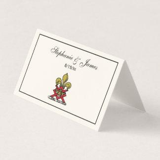 Cartão De Mesa Emblema heráldico vermelho da flor de lis da
