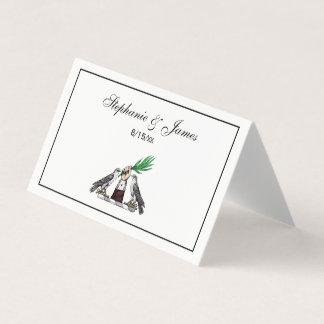 Cartão De Mesa Falcons heráldicos do vintage com o emblema da