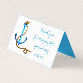 Cartão De Mesa Festa de casamento azul náutica da âncora de