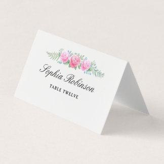 Cartão De Mesa Flores da aguarela que Wedding o número conhecido
