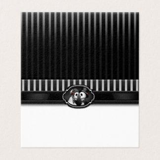 Cartão De Mesa Listras brancas pretas dos esqueletos do casamento