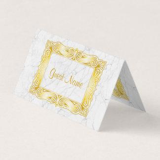 Cartão De Mesa Mármore clássico do branco da folha do louro do