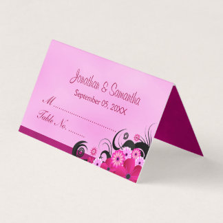 Cartão De Mesa Mesa dobrada do hibiscus fúcsia claro floral