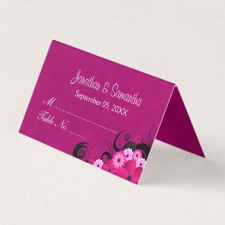 Cartão De Mesa Mesa dobrada do hibiscus fúcsia escuro floral