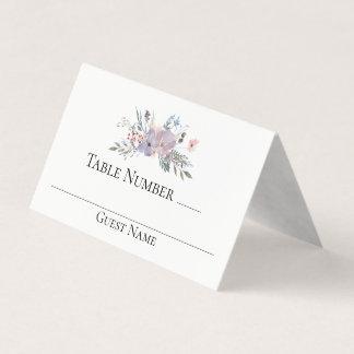 Cartão De Mesa Mesa floral do casamento da aguarela violeta do