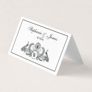 Cartão De Mesa Monograma dos pavões do vintage
