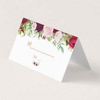 Cartão De Mesa Número floral rústico da mesa de Borgonha Marsala