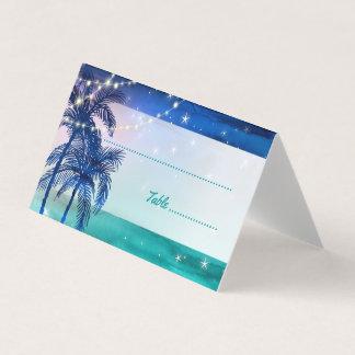 Cartão De Mesa O lugar tropical do casamento de praia carda