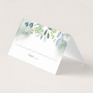 Cartão De Mesa O verde da aguarela deixa ramos