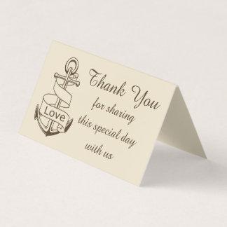 Cartão De Mesa Obrigado náutico você envia o amor do casamento de