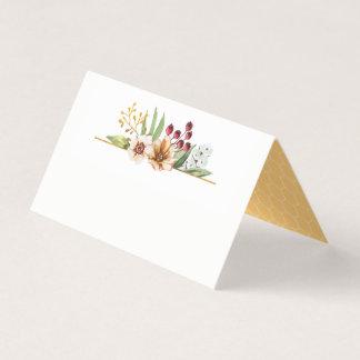 Cartão De Mesa Ouro do casamento da aguarela do Wildflower do