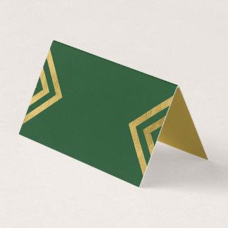 Cartão De Mesa Ouro elegante chique do verde e do falso