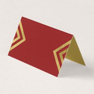 Cartão De Mesa Ouro elegante chique do vermelho e do falso