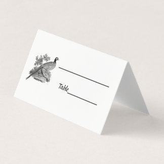 Cartão De Mesa Pássaro de jogo do faisão do vintage que tira BW