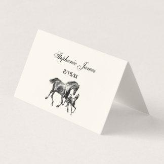 Cartão De Mesa Potro Ecru do bebê da mãe dos cavalos do vintage