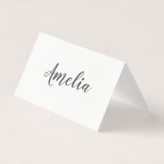 Cartão De Mesa Roteiro ocasional elegante simples da tipografia