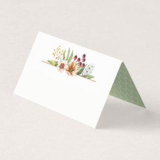 Cartão De Mesa Sábio do casamento da aguarela do Wildflower do