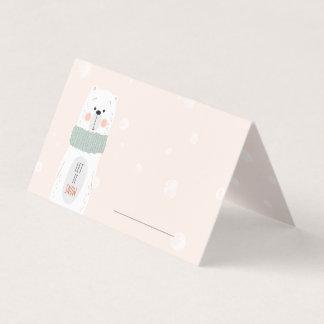 Cartão De Mesa Urso polar - o deixe nevar - inverno bonito/Natal