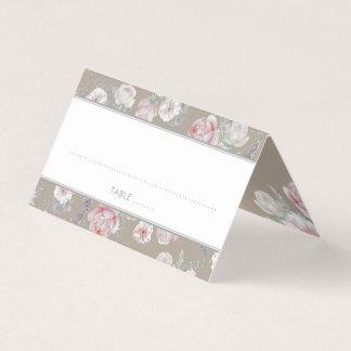 Cartão De Mesa Vintage floral do rosa e o branco da aguarela