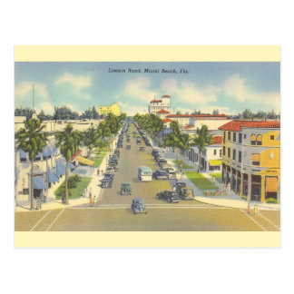 Cartão de Miami Beach da estrada de Lincoln do