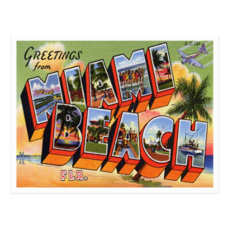 Cartão de Miami Beach do vintage