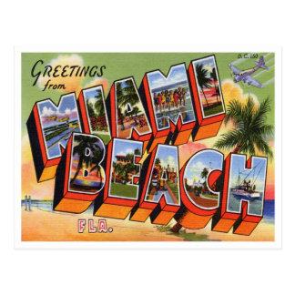 Cartão de Miami Beach do vintage Cartões Postais