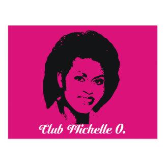 Cartão de Michelle O do clube, rosa quente Cartão Postal