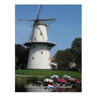 Cartão de Middelburg do moinho de vento