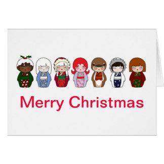 Cartão de Natal 2 de Kokeshi