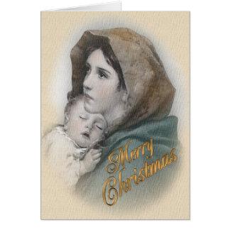 Cartão de Natal abençoado de Jesus da mãe e do