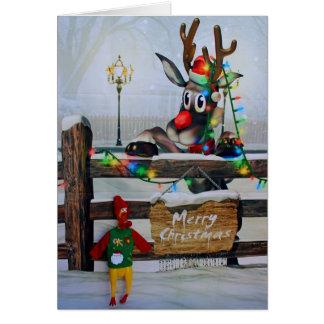 Cartão de Natal adorável da galinha e do Rudolph!
