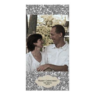 Cartão de Natal ajustável da foto do brilho de pra Cartão Com Foto