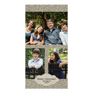 Cartão de Natal ajustável de 3 fotos do brilho de  Cartão Com Foto