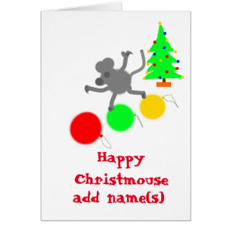 Cartão de Natal alegre do rato do cristo