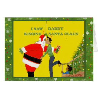 Cartão de Natal alegre eu vi o pai beijar Papai