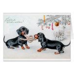 Cartão de Natal alemão do Dachshund do vintage