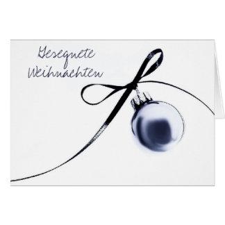 Cartão de Natal alemão do ornamento azul