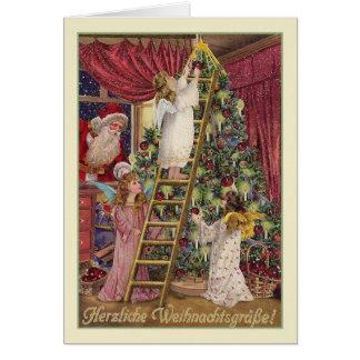 Cartão de Natal alemão dos anjos do vintage