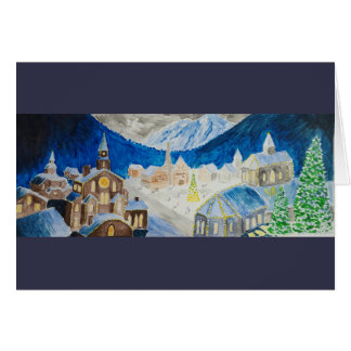 Cartão de Natal alpino da vila